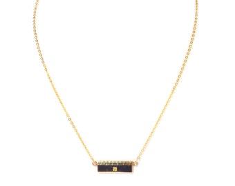 "Gold Filled Diamond Miniature Ruler Pendant Necklace 16"",  1960s"
