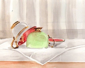 "Watercolor Teacup Still Life, 6"" x 9"""