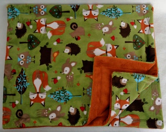 Minky Baby Blanket, Baby Boy Blanket, Fox Baby Blanket, Receiving Blanket, Stroller Blanket *Ready to Ship*