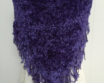 Fabulous Fun Fur Boa Poncho in Deep Purple with Fringed Edge - Size Medium