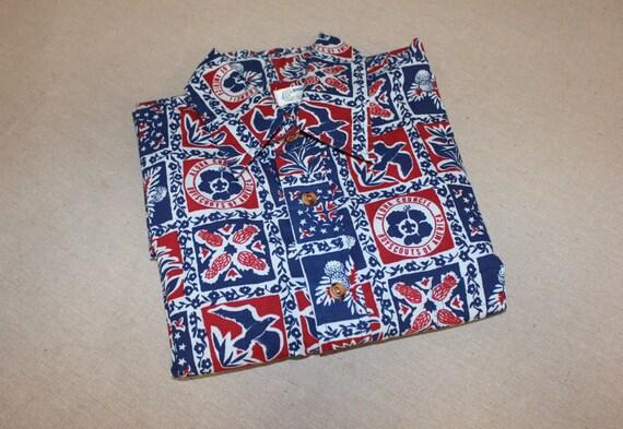 vintage 1960's -Nani of Hawaii- Men's Aloha shirt. Stylized tribal print on Polished Cotton. Bold coloration. Large - Extra Large IpiKSf4Ij