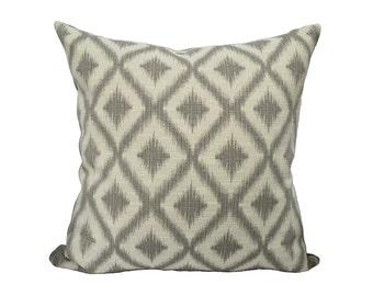 """Grey Diamond Ikat Pillow 20"""""""