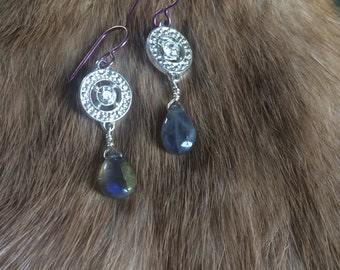 Repueposed Sparkle Connector Earrings - Labradorite - Purple Niobium - OOAK
