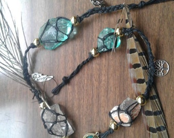 Smokey Quartz Witches ladder with sea glass, charms, and natural feathers