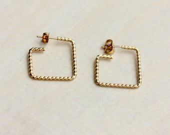 Gold Square Hoops, Twisted Hoops, Gold Hoop Earrings, Square Hoops