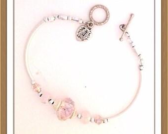 Bracelet by MWL pink beaded bracelet. Handmade 0181