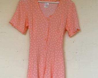 Lovely vintage peachy floral day dress - size 10/12