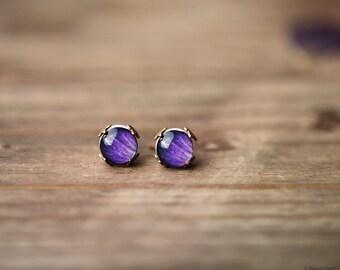 Purple stud earrings, Gift for women, Purple post earrings, Purple earrings, Flower stud earrings, Tiny stud earrings, Purple earring stud