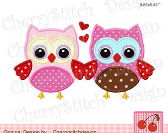 Valentine's Day Embroidery design  a couple of  owls with hearts Machine Embroidery Applique -for 5x7 and 6x10 hoop