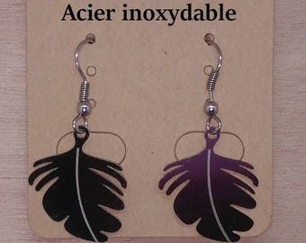 1 pair of stainless steel feather earrings