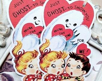 Ghost Valentine Gift Tags (6) Retro Valentine Card-Classroom Valentine-Valentine Favor Tag-Treat Bag Tags-Scary Valentine-Vintage Valentine
