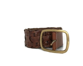 1990s Brown Leather Belt / 90s Chunky Braided Leather Belt / Vintage Brass Buckle Belt