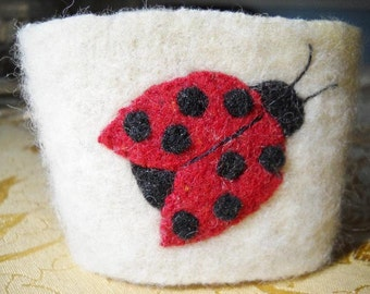 Ladybug Felted Wool Coffee Cozy Coffee Sleeve