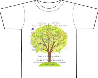 FAMILY TREE, genealogical tee-shirt, gift for significant birthday, gift for him or her