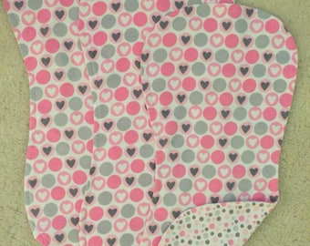 Grey hearts burp cloths, Baby girl burp cloths, Pink and grey dotted burp cloths