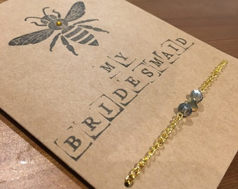 Will you bee my bridesmaid charm bracelet - golden, dusky blue with heart