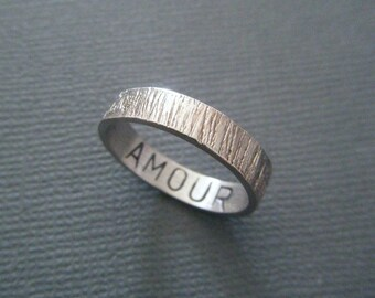 "Hammered Silver ""Love"" message ring"