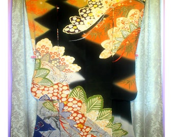Beautiful Boughs - Antique Japanese Wedding Furisode Formal Women's Silk Kimono