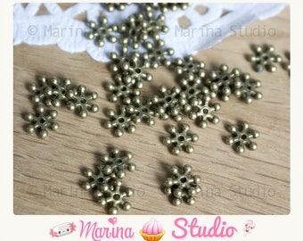100 beads bronze snowflake snow 8mm