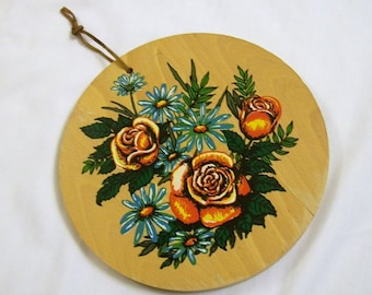 Wood Plaque, Kitchen Plaque, Flower Plaque, Vintage Kitchen, Wood Plaque, Wood Trivet, Retro Kitchen, Vintage Cutting Board