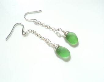 Seaham Sea Glass hook earrings of tiny bright green drops suspended from Sterling Silver hooks - E1795 - from Seaham,  UK