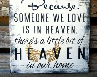 Sympathy Gift, Memorial Shelf Sitter, Condolence Gift, Gold Angel Wings, Someone is in heaven