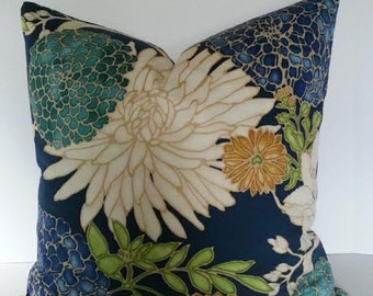 Designer Floral Pillow Cover / Asian Inspired / Chinoiserie / Navy Blue /Teal / Gold Metallic Accents