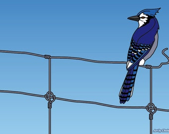 Blue Jay with wire fence - medium-size. -Still updating the listing! :)