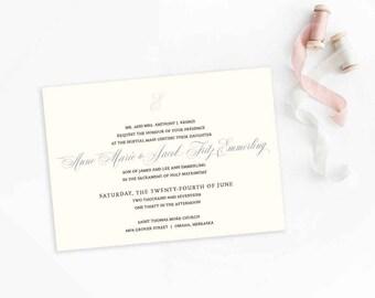 Elegant  Wedding Invitations, monogram wedding invite set, blush wedding invitation ANNE MARIE - DEPOSIT