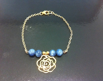 Camellia in gold filled 14 k and kyanite bracelet