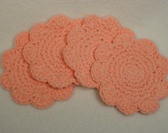 Peach Coasters - Crocheted Peach Coasters - Peach Coaster - Crocheted Mug Rugs - Crocheted Coasters - Drink Coasters - Coaster in Peach