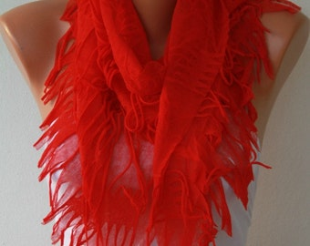 Easter gift,Red Scarf, Teacher Gift  Shawl Scarf Cowl Scarf Gift Ideas For Her Women's Fashion Accessories