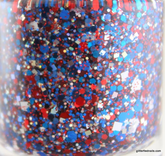 Free Safety - Red White Blue Silver Glitter Nail Polish Team Spirit Patriots colors 5 free nail polish handmade indie vegan cruelty free