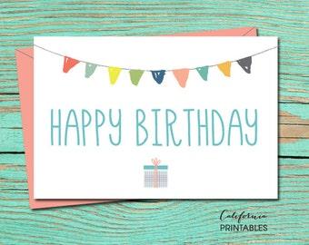 Happy Birthday PRINTABLE CARD, Happy Birthday Card, DIY Instant Download Card, Party Birthday Card, B-day Card, Birthday E-Card, E-Card 14