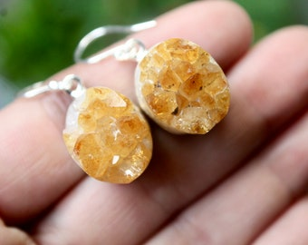 Raw Citrine Cluster Earrings, Citrine Druzy Earrings, Sterling Silver Citrine Earrings, Chakra, Healing Stones, Gift for Her