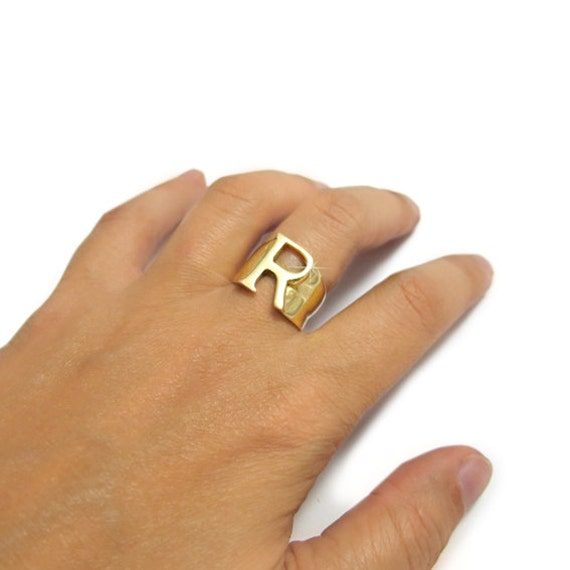Initial Gold Ring Gold Letter Ring R Ring Personalized