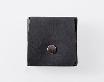 Carrée Origami papier lavable porte-monnaie en Punaluu noir / sac à main Vegan