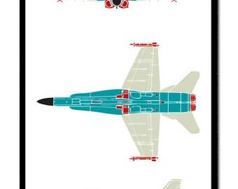 F18 Hornet Jet Fighter Flight Elevation Plan for Boys and Preteens Aeroplane poster print