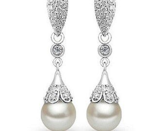 Fashion Crystal 925 Sterling Silver Shell Pearl Roundness Earring