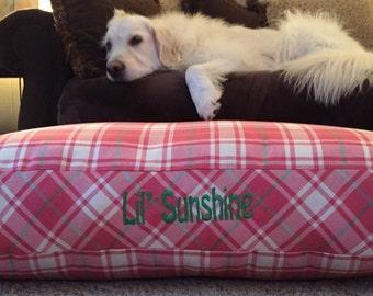 Dog Bed * Chloe * Pink Green Plaid * Limited Edition * Extra Large * Personalize with Pup Name  * Custom Pillow Cover * Embroidery * TSD
