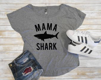 Mama Shark Shirt, Flowy Off Shoulder Mom Shirt, Mom Dolman Tee, Mom Flowy Shirt, Cute Mom Shirt, Cute Mommy Shirt, Mom Shark Shirt Flowy