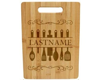 Laser Engraved Cutting Board - 045 - Kitchen Utensils with YOUR LAST NAME