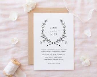 Printable Wedding Invitations, Wedding Invitations, DIY Wedding Invitations, Modern Wedding Invitations, Minimalist Wedding Invitations