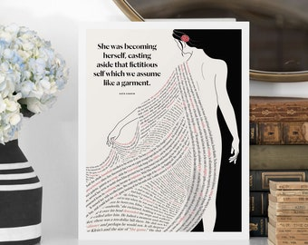 KATE CHOPIN Literary Art Print, The Awakening Quote Print, Bookish Gift for Her, Bookworm Gift for Girlfriend, Women Writers