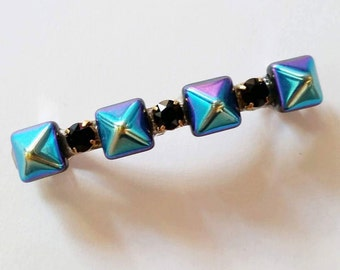 Blue Purple Ombre Pyramid Black Swarovski Crystal French Barrette, for weddings, parties, special occasions