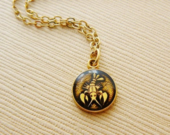 Vintage .. Necklace, Horoscope Charm, Chain Cancer the Crab Black Enamel Goldtone