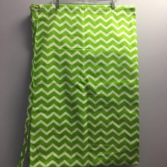 Personalized Lime Green Chevron Print Laundry Bag