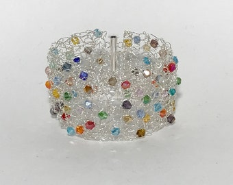 Statement Cuff Bracelet, Multi Color Rainbow Faceted Crystals, Non-Tarnish Silver Plated Wire, Wire Crochet, Wide Bracelet Cuff
