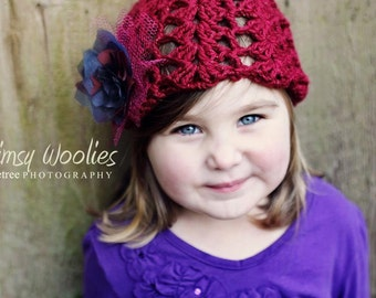 "Toddler Crochet HaT Pattern:  ""Ruby Tuesday"", Crochet Cloche, Fabric Flower Embellishment"