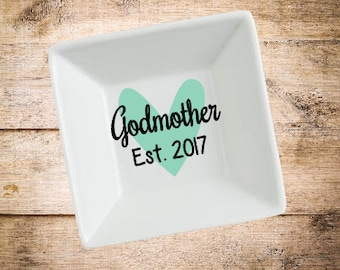 Godmother Ring Dish- Will you be my godmother gift- Godmother Gift- Gift for Godmother- Baptism Gift- Ring Dish- Personalized Gift
